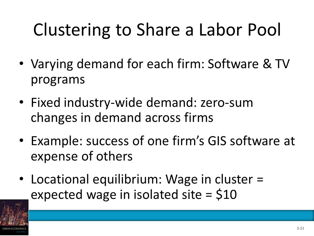 Clustering to Share a Labor Pool Varying demand for each firm: Software & TV programs Fixed industry-wide demand: zero-sum changes in demand across fi