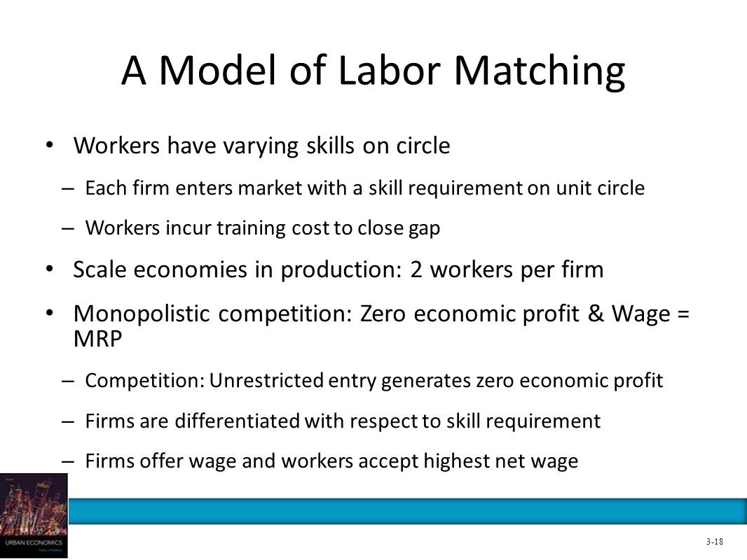 A Model of Labor Matching Workers have varying skills on circle – Each firm enters market with a skill requirement on unit circle – Workers incur trai