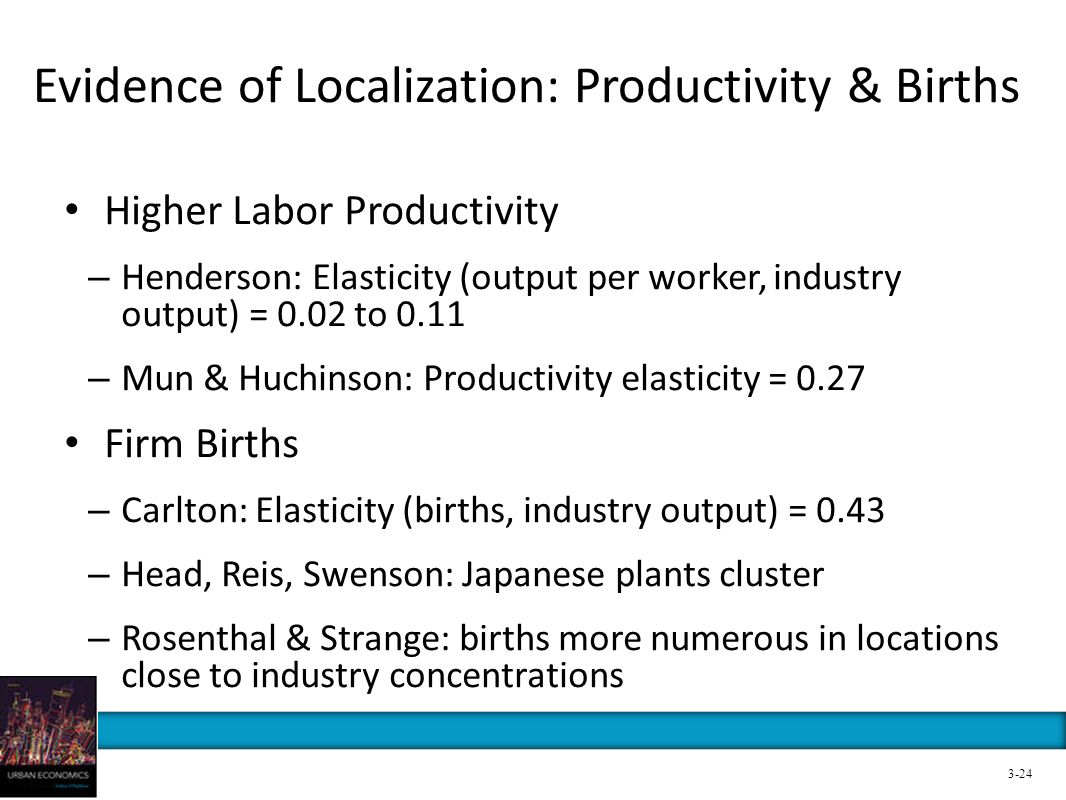 Evidence of Localization: Productivity & Births Higher Labor Productivity – Henderson: Elasticity (output per worker, industry output) = 0.02 to 0.11