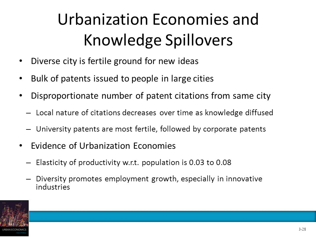 Urbanization Economies and Knowledge Spillovers Diverse city is fertile ground for new ideas Bulk of patents issued to people in large cities Dispropo