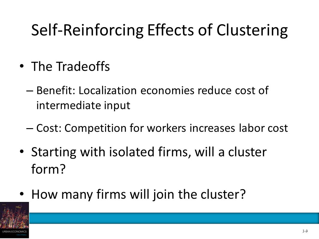 Self-Reinforcing Effects of Clustering The Tradeoffs – Benefit: Localization economies reduce cost of intermediate input – Cost: Competition for worke