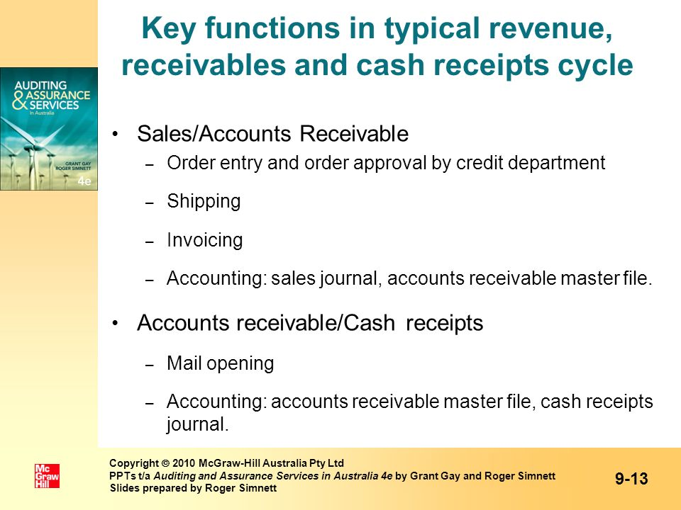 Key functions in typical revenue, receivables and cash receipts cycle Sales/Accounts Receivable – Order entry and order approval by credit department
