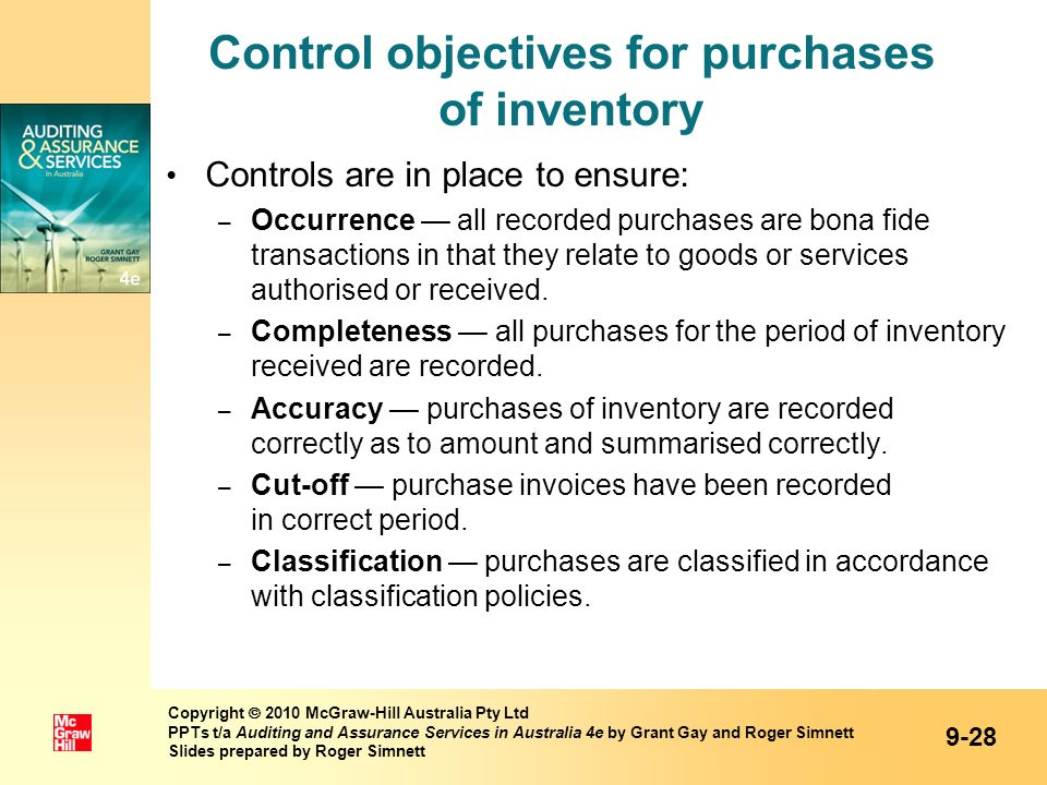 Control objectives for purchases of inventory Controls are in place to ensure: – Occurrence all recorded purchases are bona fide transactions in that