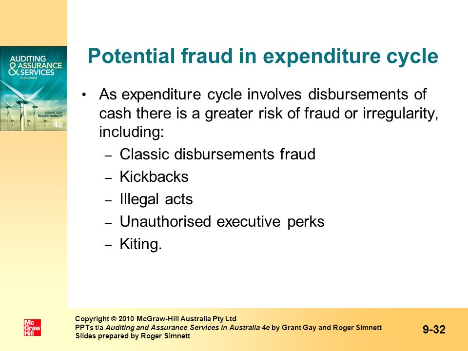 Potential fraud in expenditure cycle As expenditure cycle involves disbursements of cash there is a greater risk of fraud or irregularity, including: