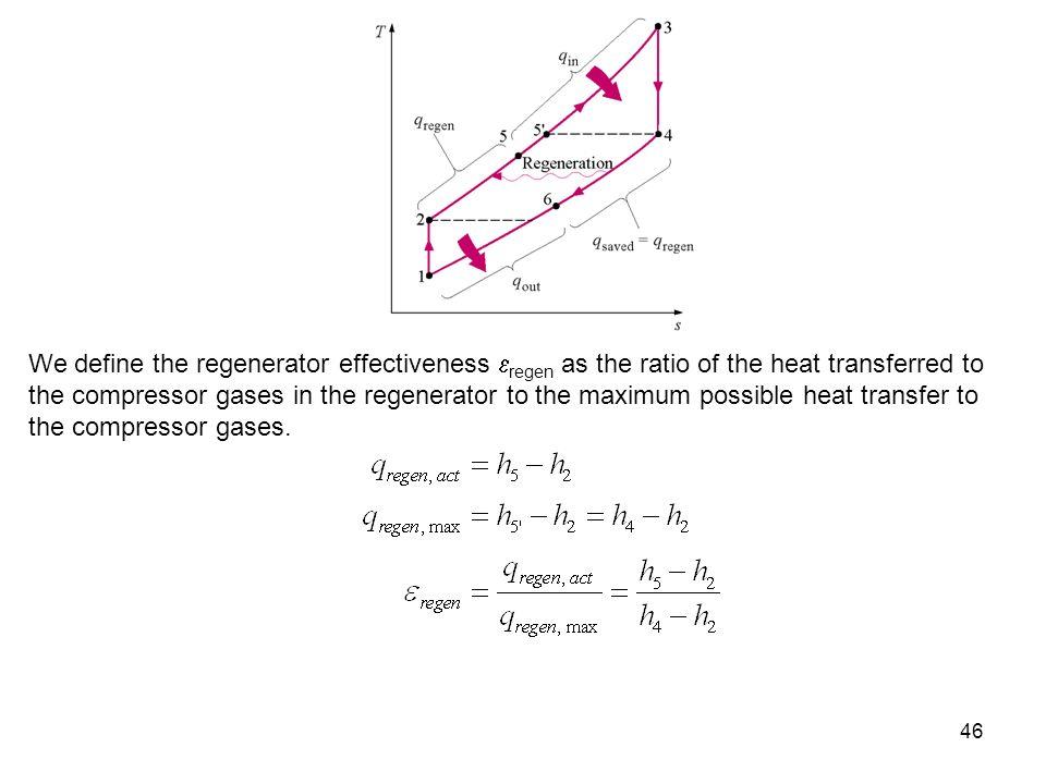 46 We define the regenerator effectiveness regen as the ratio of the heat transferred to the compressor gases in the regenerator to the maximum possib