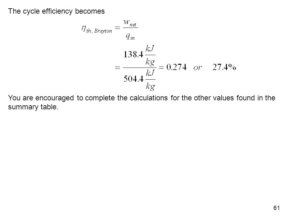 61 The cycle efficiency becomes You are encouraged to complete the calculations for the other values found in the summary table.