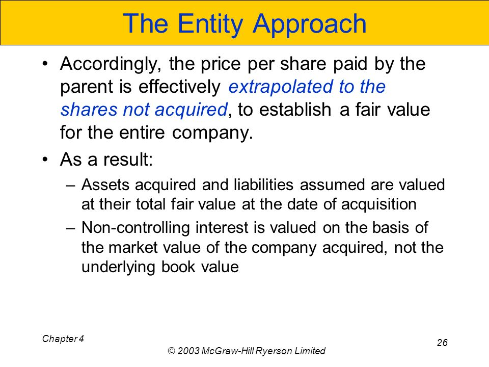 Chapter 4 © 2003 McGraw-Hill Ryerson Limited 26 The Entity Approach Accordingly, the price per share paid by the parent is effectively extrapolated to the shares not acquired, to establish a fair value for the entire company.