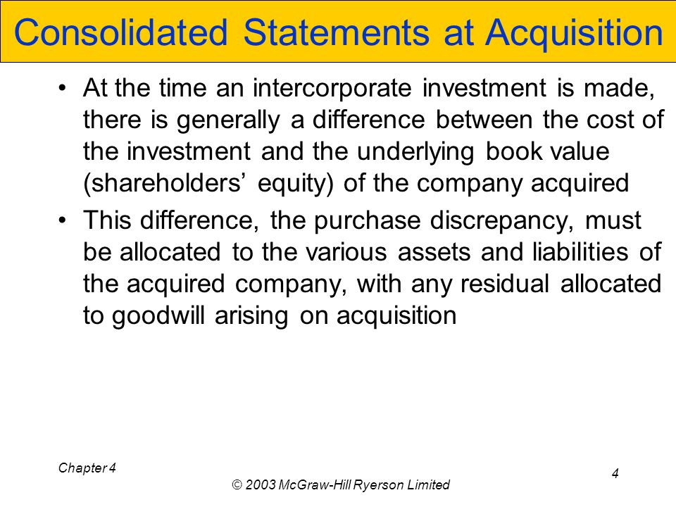 Chapter 4 © 2003 McGraw-Hill Ryerson Limited 4 Consolidated Statements at Acquisition At the time an intercorporate investment is made, there is generally a difference between the cost of the investment and the underlying book value (shareholders equity) of the company acquired This difference, the purchase discrepancy, must be allocated to the various assets and liabilities of the acquired company, with any residual allocated to goodwill arising on acquisition