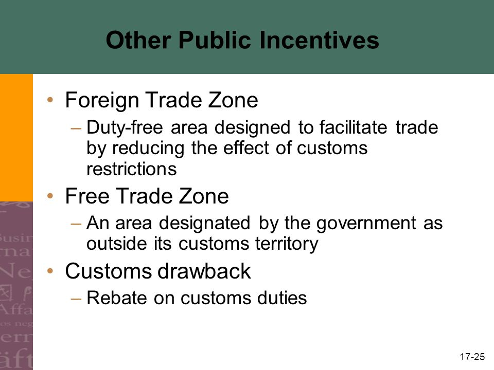 17-25 Other Public Incentives Foreign Trade Zone –Duty-free area designed to facilitate trade by reducing the effect of customs restrictions Free Trade Zone –An area designated by the government as outside its customs territory Customs drawback –Rebate on customs duties