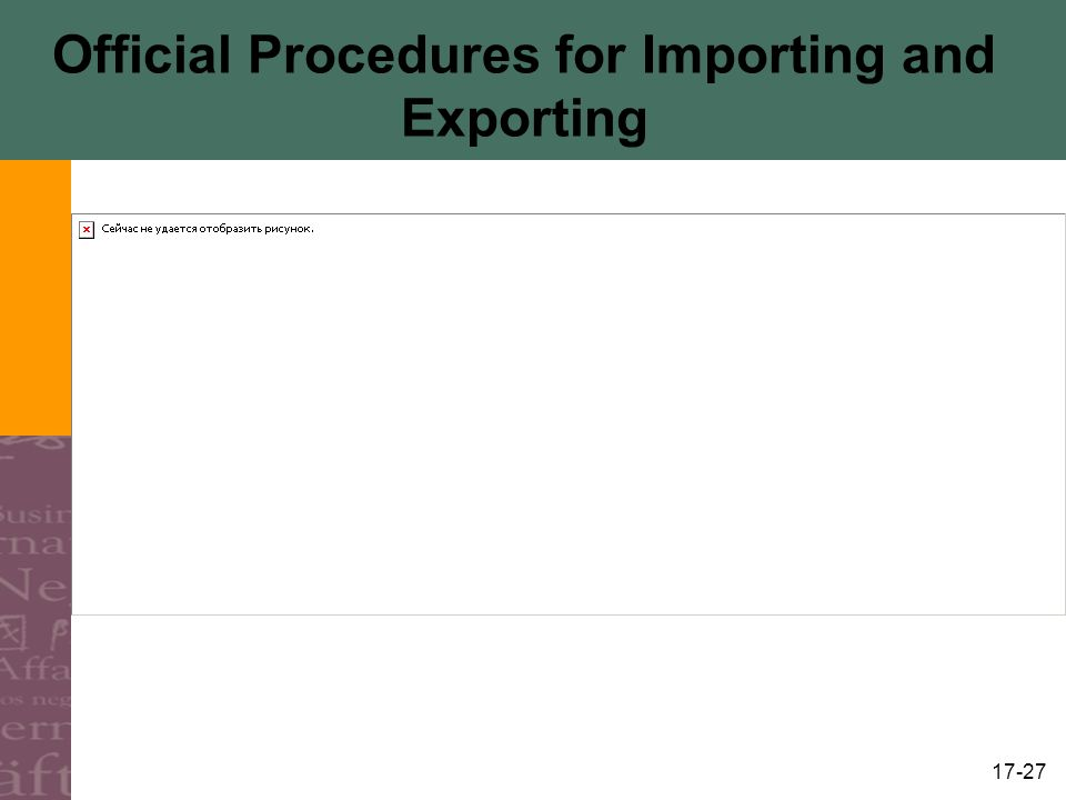 17-27 Official Procedures for Importing and Exporting