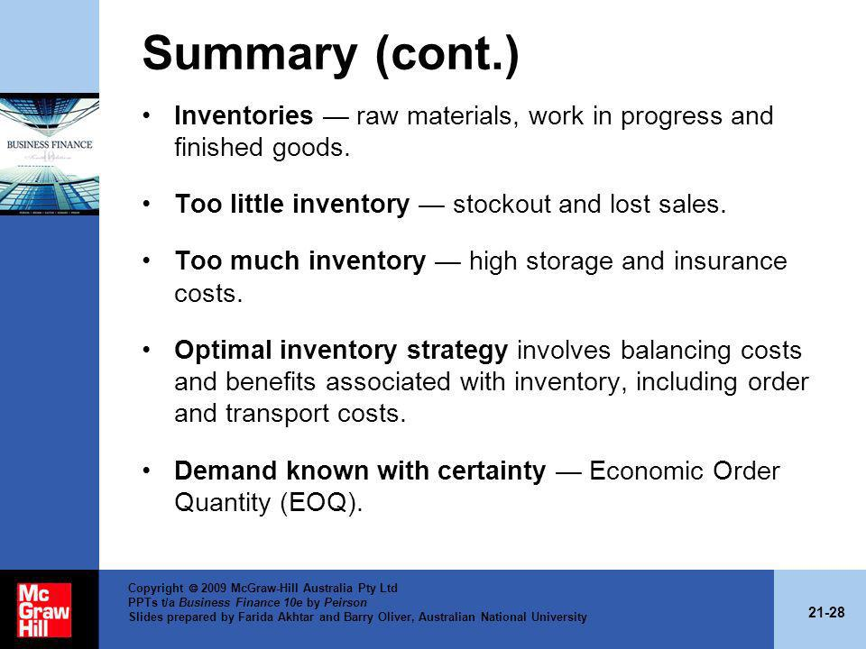 21-28 Copyright 2009 McGraw-Hill Australia Pty Ltd PPTs t/a Business Finance 10e by Peirson Slides prepared by Farida Akhtar and Barry Oliver, Austral