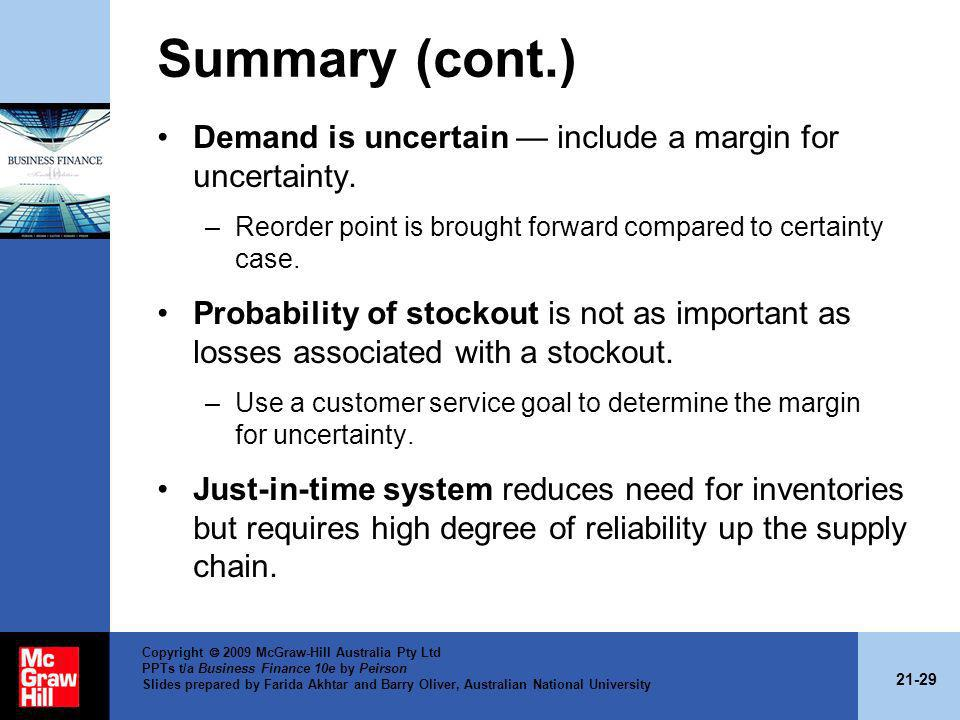 21-29 Copyright 2009 McGraw-Hill Australia Pty Ltd PPTs t/a Business Finance 10e by Peirson Slides prepared by Farida Akhtar and Barry Oliver, Austral