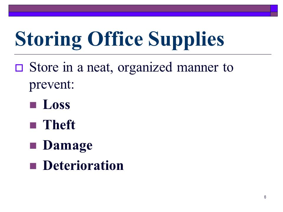 7 A supply list can help track and categorize supplies according to need and urgency.