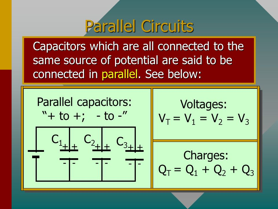Short Cut: Two Series Capacitors The equivalent capacitance C e for two series capacitors is the product divided by the sum. 3 F6 F + + - - + + - - C1