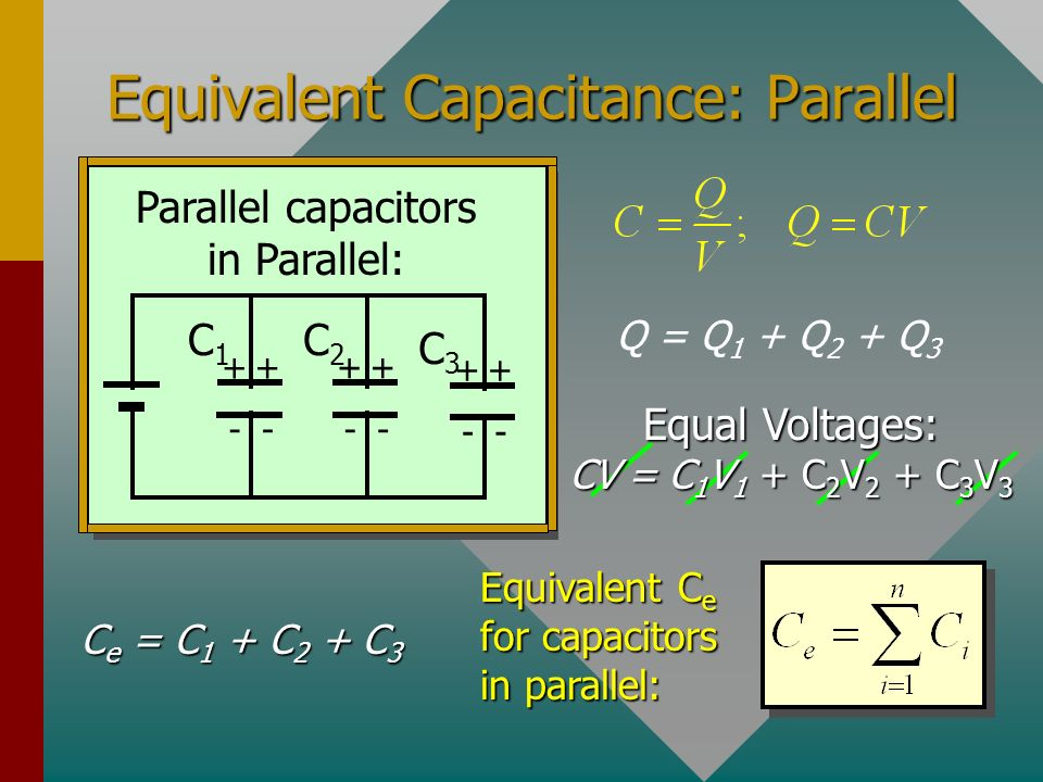 Parallel Circuits Capacitors which are all connected to the same source of potential are said to be connected in parallel. See below: Parallel capacit
