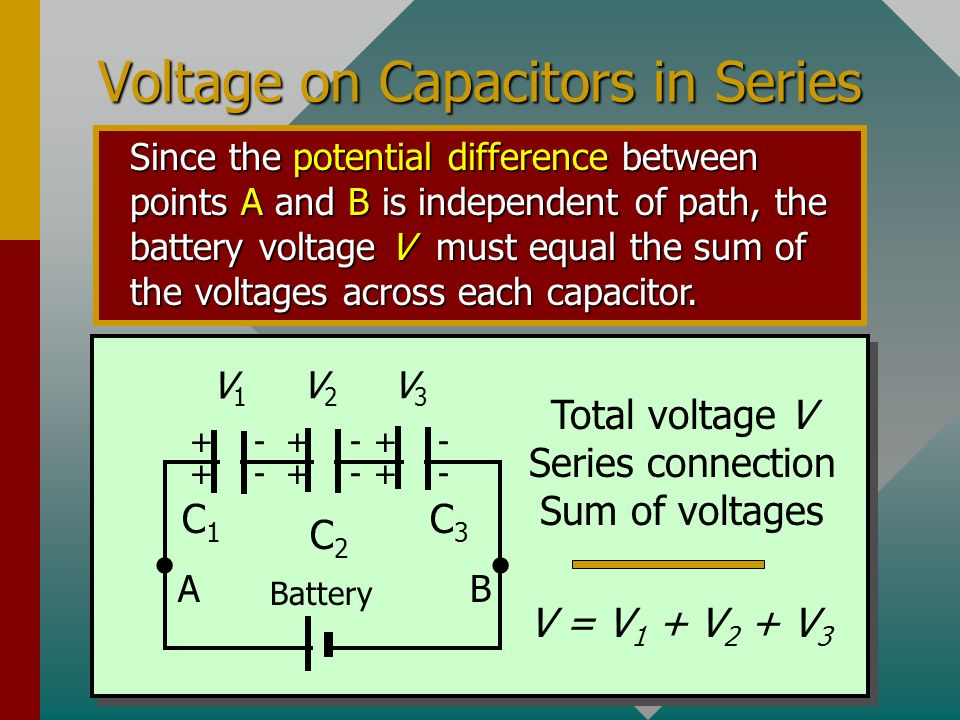 Charge on Capacitors in Series Since inside charge is only induced, the charge on each capacitor is the same. Charge is same: series connection of cap