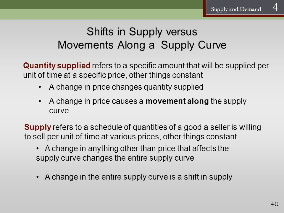 Supply and Demand 4 Shifts in Supply versus Movements Along a Supply Curve Quantity supplied refers to a specific amount that will be supplied per uni