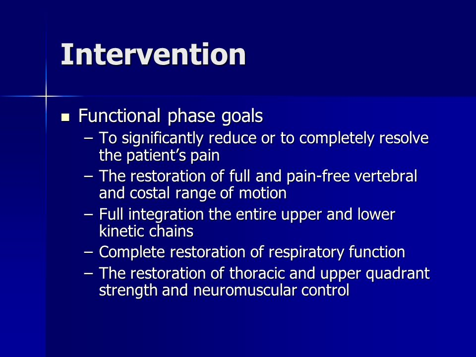 Intervention Functional phase goals Functional phase goals –To significantly reduce or to completely resolve the patients pain –The restoration of ful