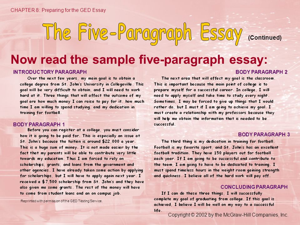 Copyright © 2002 by the McGraw-Hill Companies, Inc. CHAPTER 8: Preparing for the GED Essay Now read the sample five-paragraph essay: (Continued) INTRO