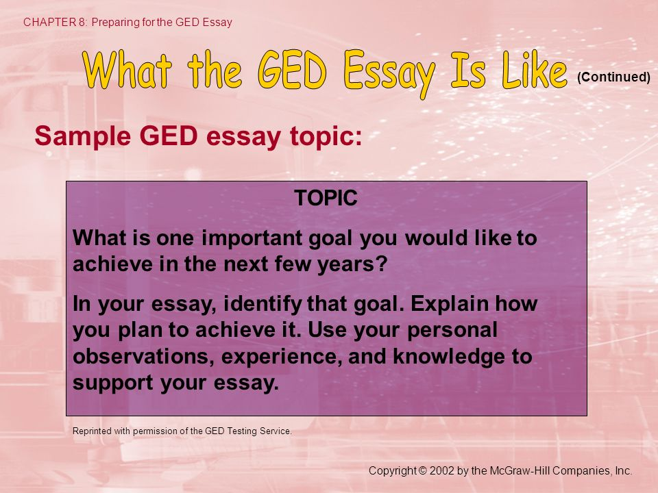 how read essay ged Learn how to write your ged® essay and what really matters when the graders are reading your essay we've got a quick and easy guide for you follow these tips to learn how to create an essay that will help you to pass the ged language test.