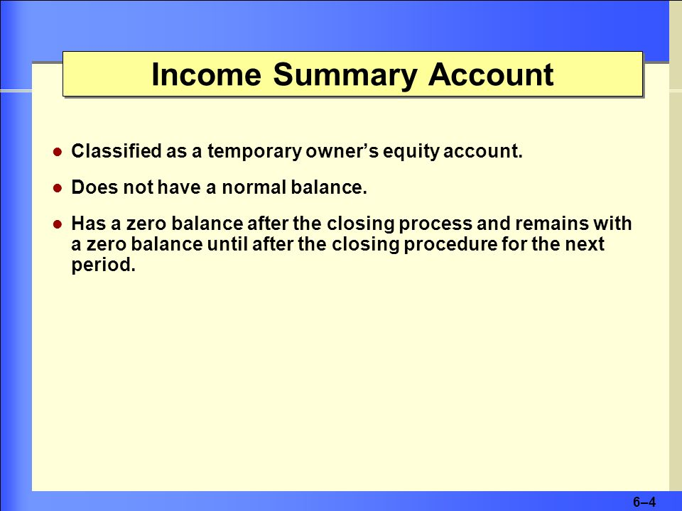 6–46–4 Income Summary Account Classified as a temporary owners equity account. Does not have a normal balance. Has a zero balance after the closing pr