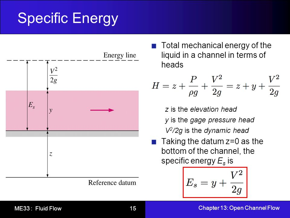 Chapter 13: Open Channel Flow ME33 : Fluid Flow 15 Specific Energy Total mechanical energy of the liquid in a channel in terms of heads z is the eleva