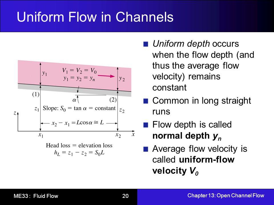 Chapter 13: Open Channel Flow ME33 : Fluid Flow 20 Uniform Flow in Channels Uniform depth occurs when the flow depth (and thus the average flow veloci
