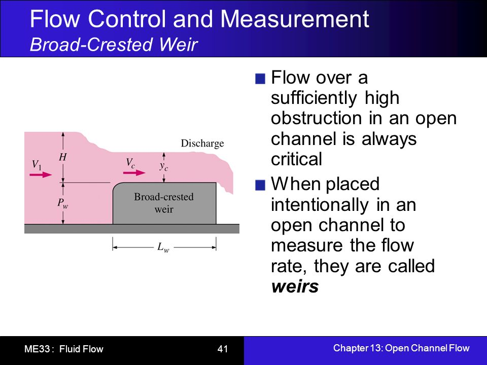 Chapter 13: Open Channel Flow ME33 : Fluid Flow 41 Flow Control and Measurement Broad-Crested Weir Flow over a sufficiently high obstruction in an ope
