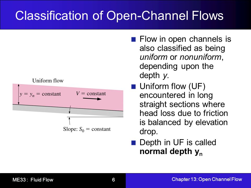 Chapter 13: Open Channel Flow ME33 : Fluid Flow 6 Classification of Open-Channel Flows Flow in open channels is also classified as being uniform or no