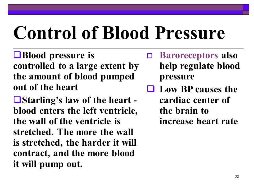 22 Blood Pressure Force blood exerts on the inner walls of blood vessels - highest in arteries and lowest in veins Systolic pressure - ventricles cont