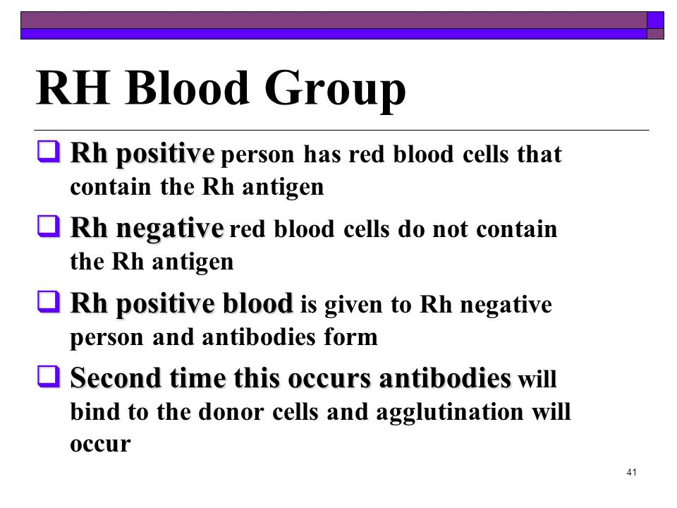 40 ABO Blood Group Blood TypeAntigen Present Antibody Present Blood that can be received AABA & 0 BBAB & O AB NoneA, B, AB, & O 0NoneA & BO