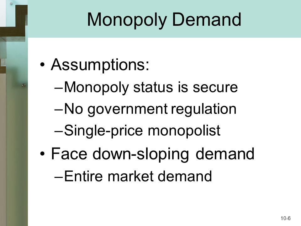 Monopoly Demand Assumptions: –Monopoly status is secure –No government regulation –Single-price monopolist Face down-sloping demand –Entire market demand 10-6