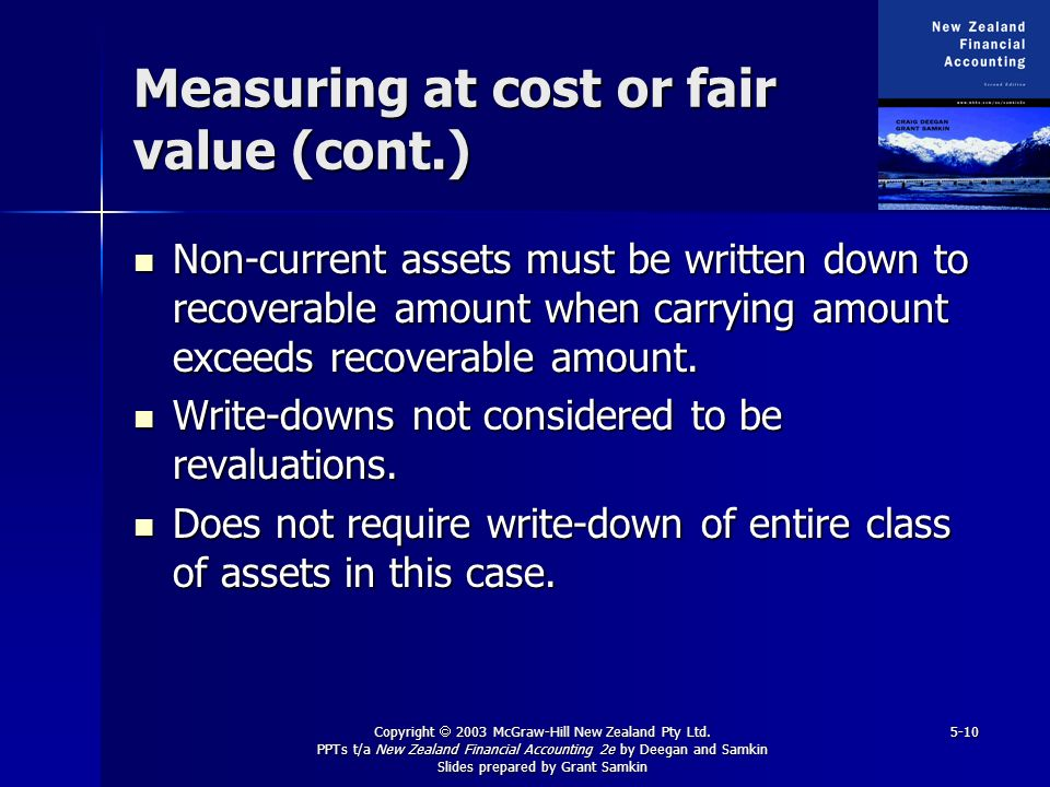 Copyright 2003 McGraw-Hill New Zealand Pty Ltd. PPTs t/a New Zealand Financial Accounting 2e by Deegan and Samkin Slides prepared by Grant Samkin 5-10