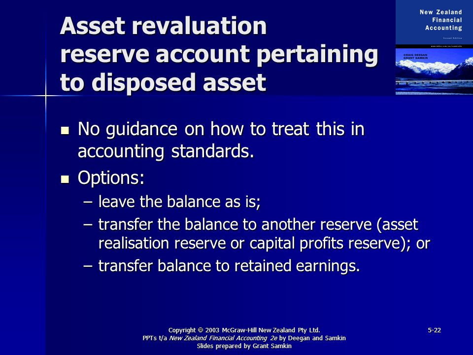 Copyright 2003 McGraw-Hill New Zealand Pty Ltd. PPTs t/a New Zealand Financial Accounting 2e by Deegan and Samkin Slides prepared by Grant Samkin 5-22