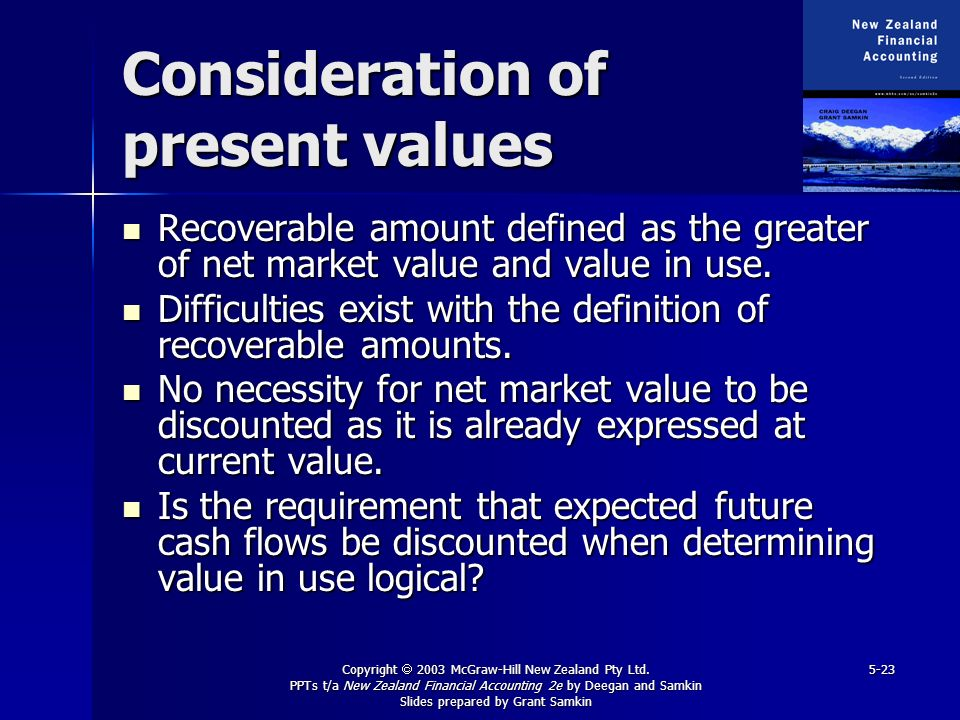 Copyright 2003 McGraw-Hill New Zealand Pty Ltd. PPTs t/a New Zealand Financial Accounting 2e by Deegan and Samkin Slides prepared by Grant Samkin 5-23