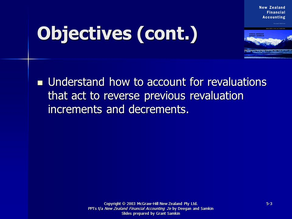 Copyright 2003 McGraw-Hill New Zealand Pty Ltd. PPTs t/a New Zealand Financial Accounting 2e by Deegan and Samkin Slides prepared by Grant Samkin 5-3