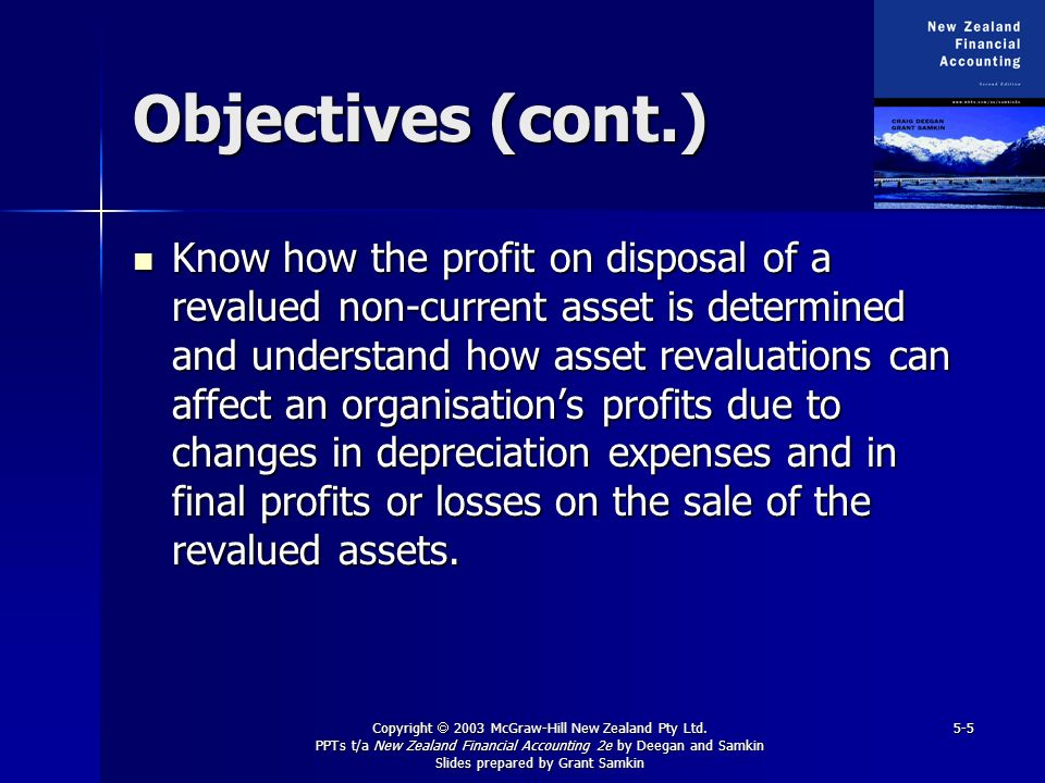 Copyright 2003 McGraw-Hill New Zealand Pty Ltd. PPTs t/a New Zealand Financial Accounting 2e by Deegan and Samkin Slides prepared by Grant Samkin 5-5