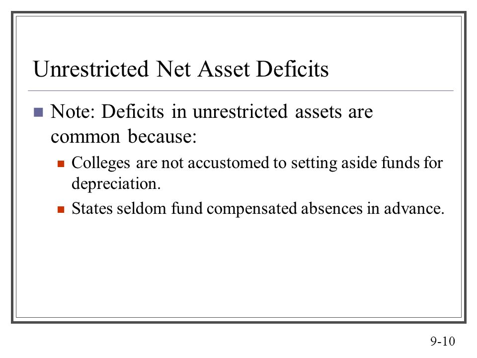 9-10 Unrestricted Net Asset Deficits Note: Deficits in unrestricted assets are common because: Colleges are not accustomed to setting aside funds for