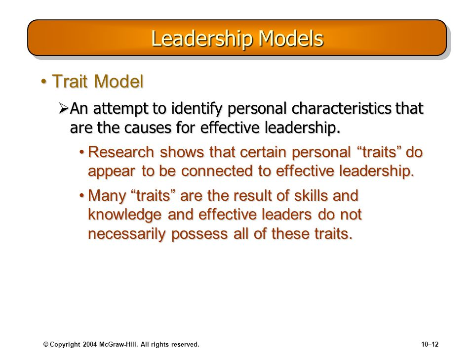 © Copyright 2004 McGraw-Hill. All rights reserved.10–12 Leadership Models Trait ModelTrait Model An attempt to identify personal characteristics that