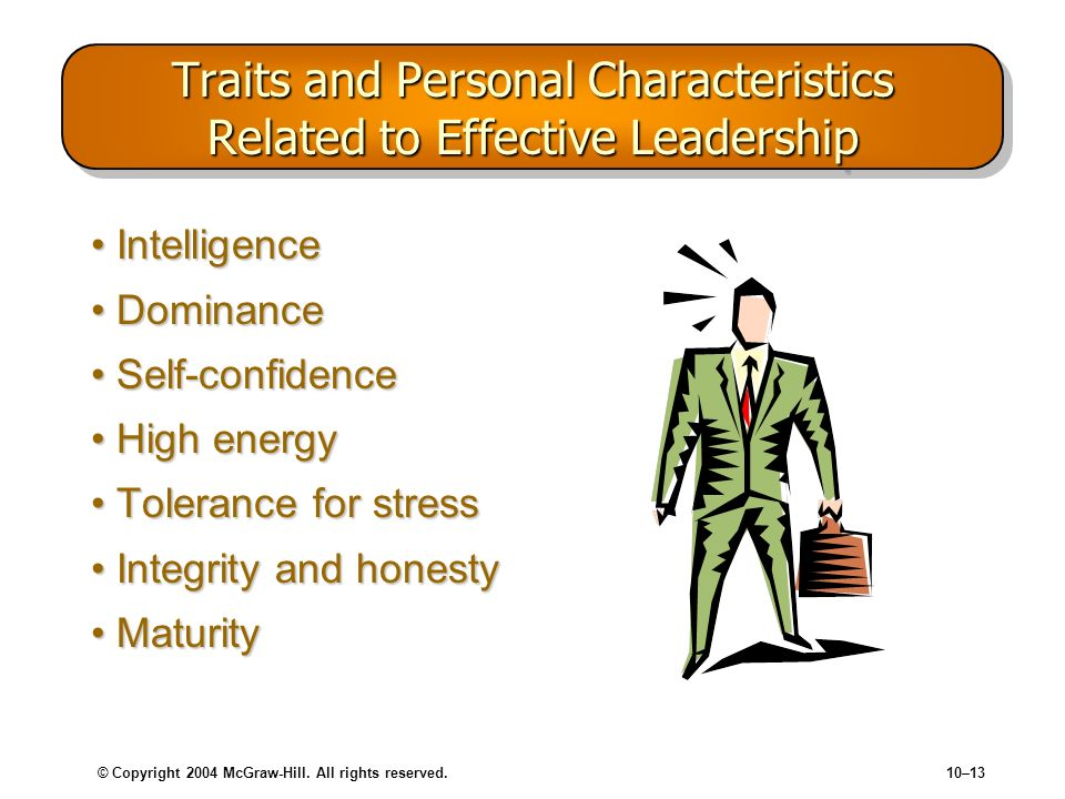 © Copyright 2004 McGraw-Hill. All rights reserved.10–13 Traits and Personal Characteristics Related to Effective Leadership IntelligenceIntelligence D