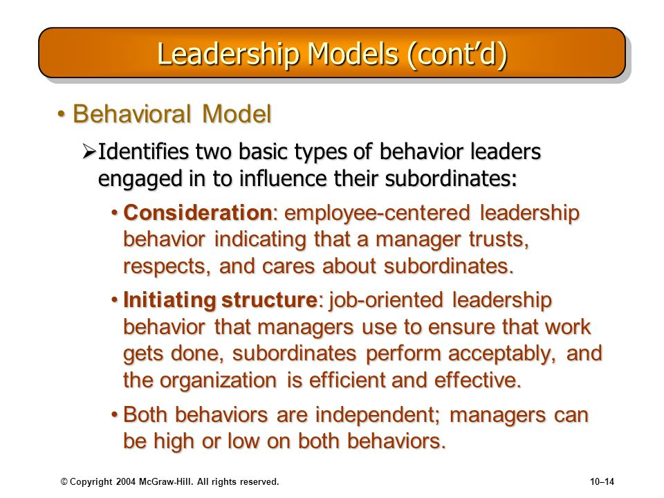 © Copyright 2004 McGraw-Hill. All rights reserved.10–14 Leadership Models (contd) Behavioral ModelBehavioral Model Identifies two basic types of behav