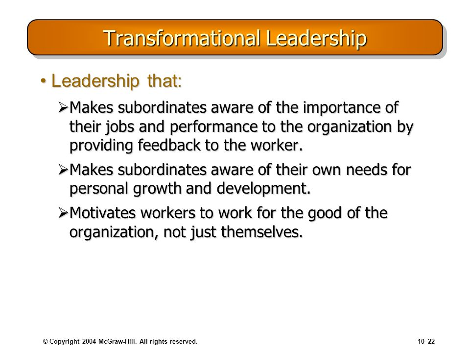 © Copyright 2004 McGraw-Hill. All rights reserved.10–22 Transformational Leadership Leadership that:Leadership that: Makes subordinates aware of the i