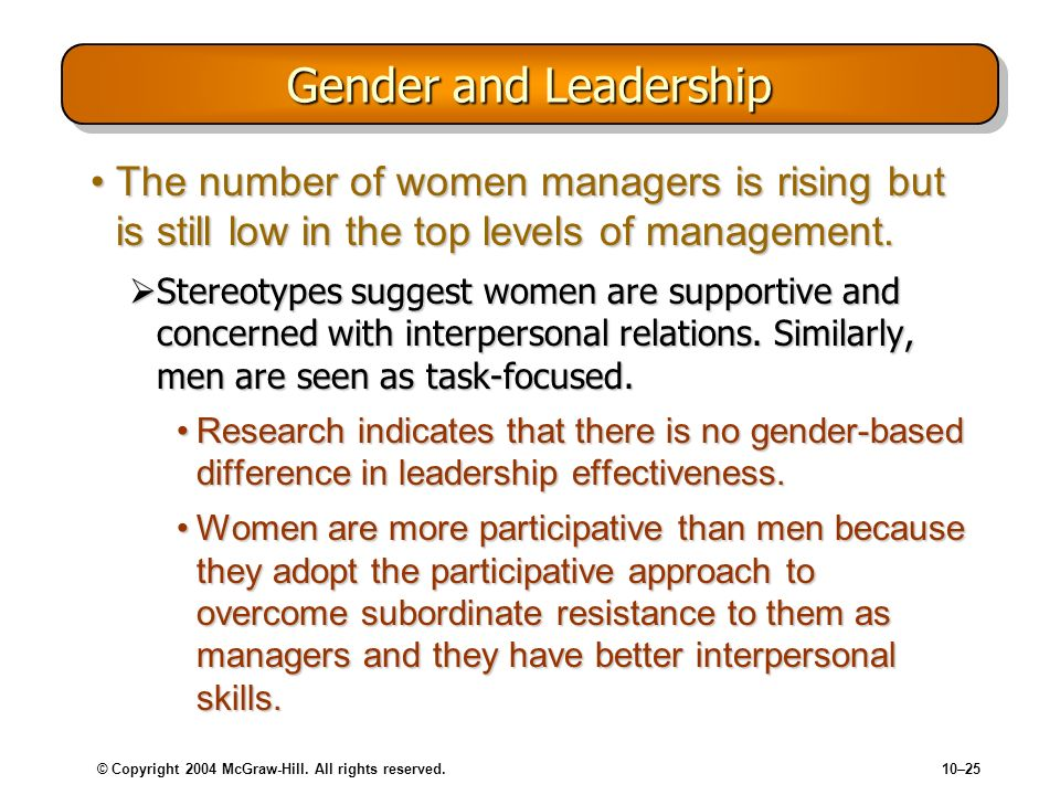 © Copyright 2004 McGraw-Hill. All rights reserved.10–25 Gender and Leadership The number of women managers is rising but is still low in the top level