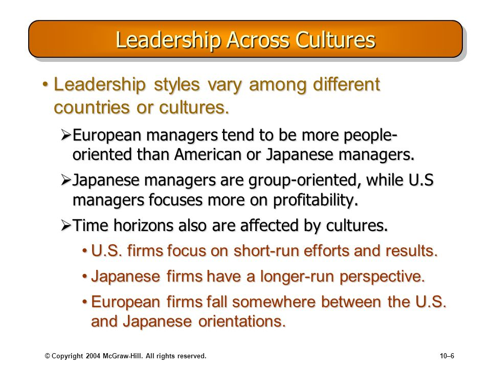 © Copyright 2004 McGraw-Hill. All rights reserved.10–6 Leadership Across Cultures Leadership styles vary among different countries or cultures.Leaders