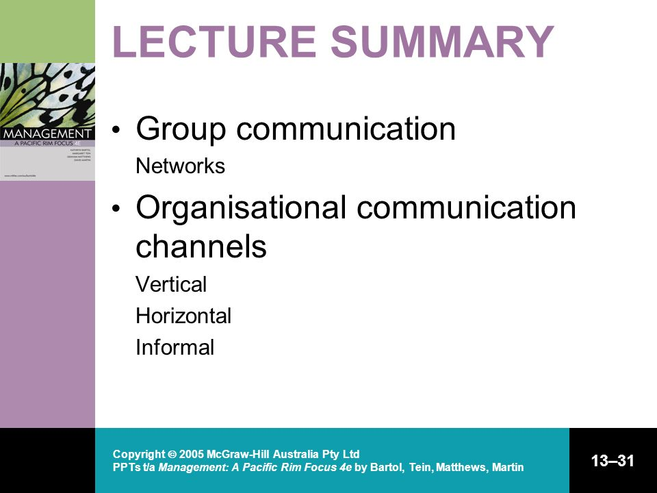 Copyright 2005 McGraw-Hill Australia Pty Ltd PPTs t/a Management: A Pacific Rim Focus 4e by Bartol, Tein, Matthews, Martin 13–31 LECTURE SUMMARY Group