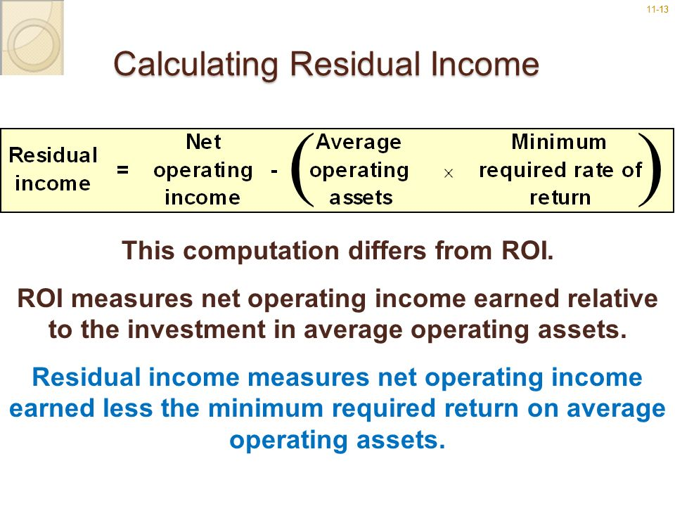 11-1313 Calculating Residual Income () This computation differs from ROI. ROI measures net operating income earned relative to the investment in avera