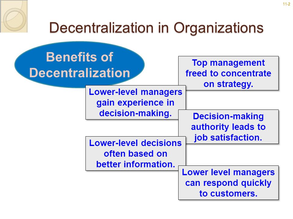 11-22 Decentralization in Organizations Benefits of Decentralization Top management freed to concentrate on strategy. Top management freed to concentr