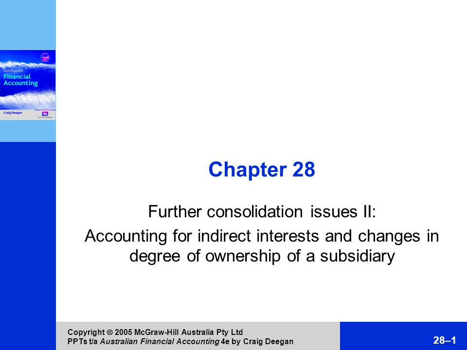 Copyright 2005 McGraw-Hill Australia Pty Ltd PPTs t/a Australian Financial Accounting 4e by Craig Deegan 28–1 Chapter 28 Further consolidation issues