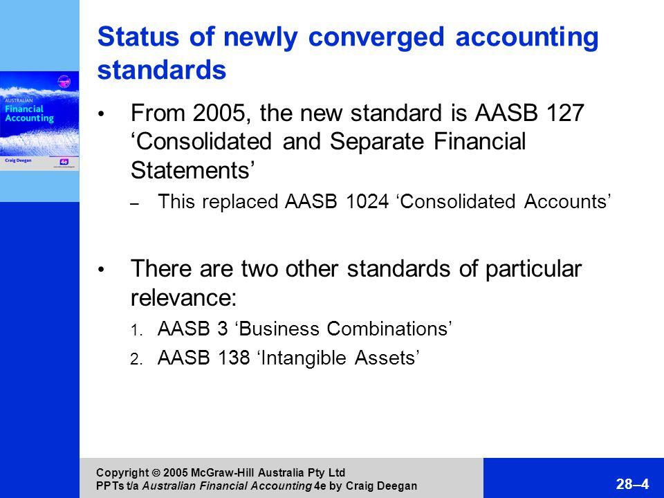 Copyright 2005 McGraw-Hill Australia Pty Ltd PPTs t/a Australian Financial Accounting 4e by Craig Deegan 28–4 Status of newly converged accounting sta