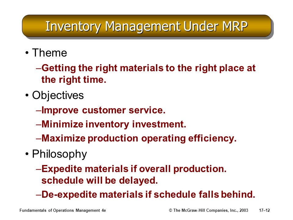 Fundamentals of Operations Management 4e© The McGraw-Hill Companies, Inc., 200317–12 Inventory Management Under MRP Theme –Getting the right materials
